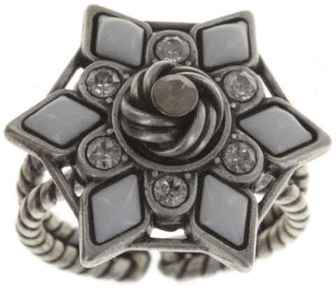 ring Arabic Nights white/grey Light antique silver
