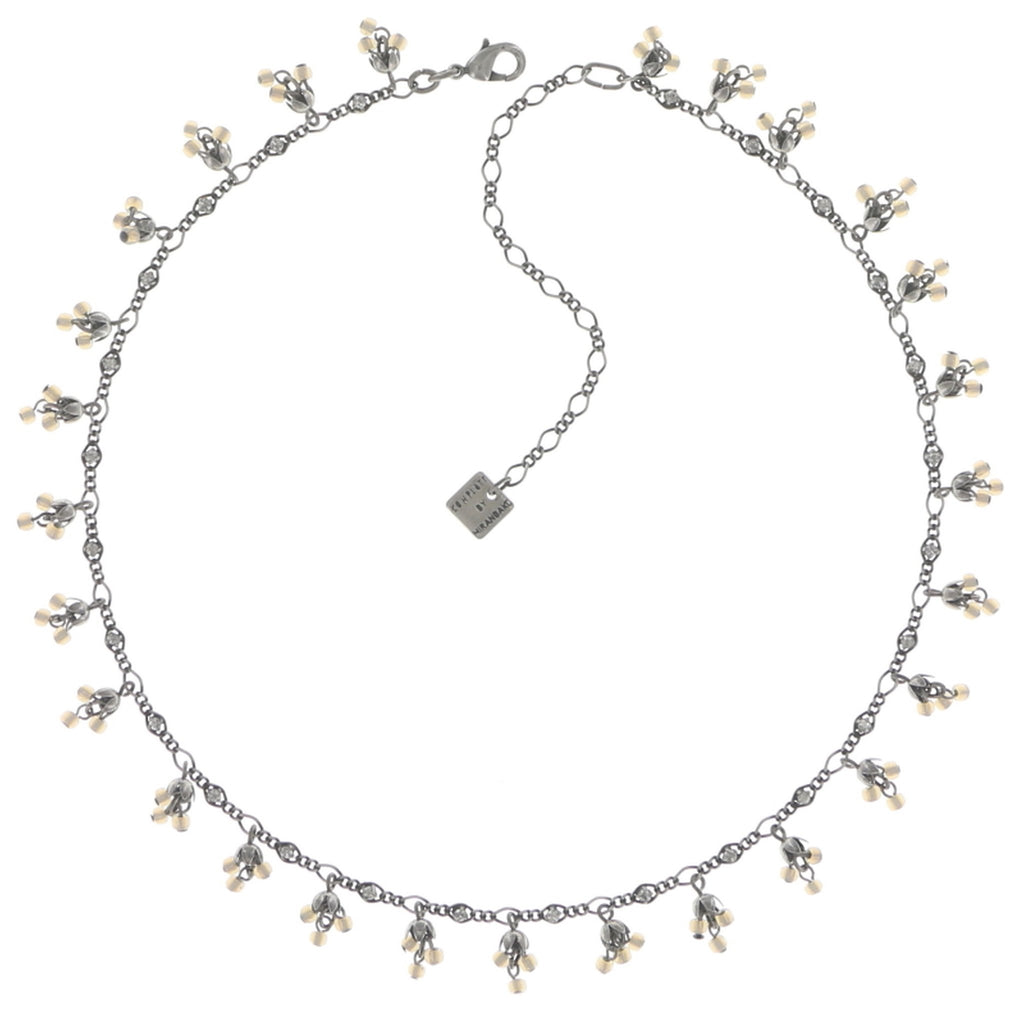 necklace Forget Me Not white antique silver