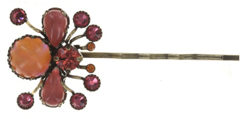 hairpin Flower Zumzum coralline/orange antique brass small