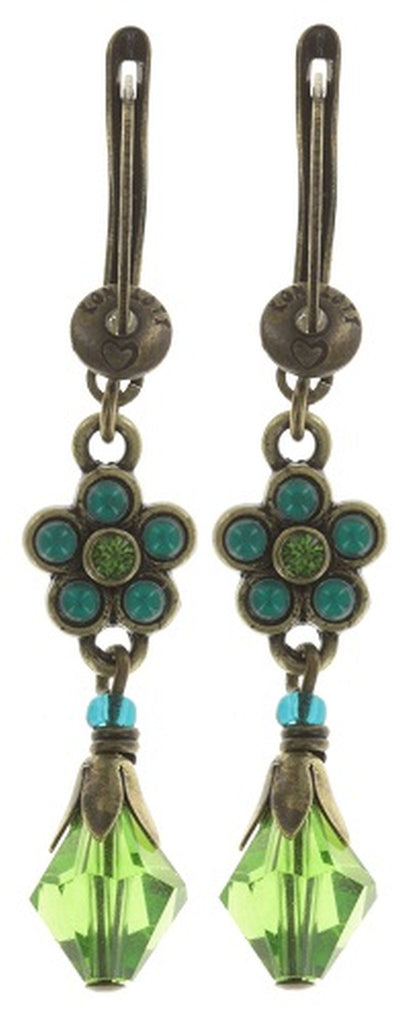 earring dangling Little Bloom blue/green antique silver