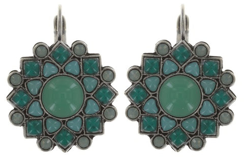 earring eurowire Mandala green antique silver small