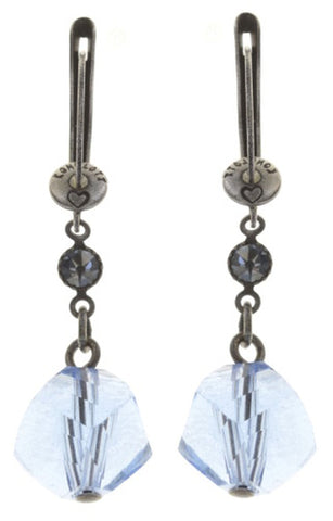 earring dangling Pool-Side Story dark blue antique silver