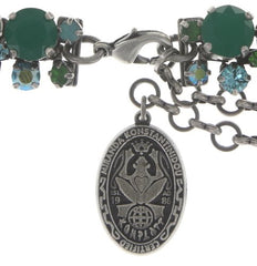 necklace collier Ballroom Classic Glam green antique silver