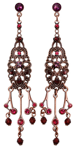 earring stud dangling Nostalgia dark red antique copper