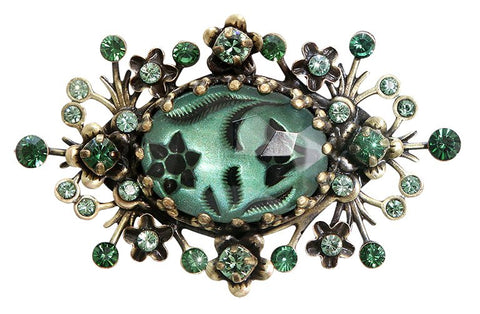 brooch Eternal Glory green antique brass