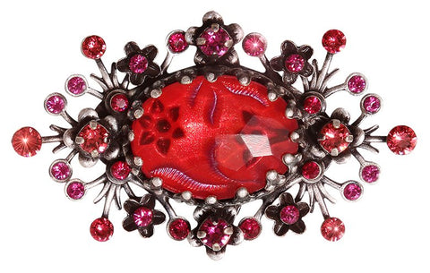 brooch Eternal Glory red antique silver