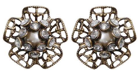 earring stud Flamenco grey antique brass extra small