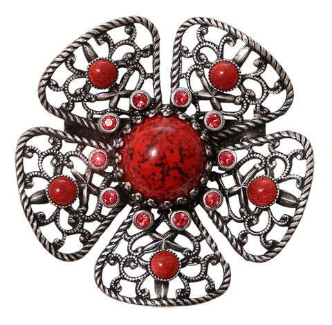 brooch Flamenco red Dark Antique Silver large