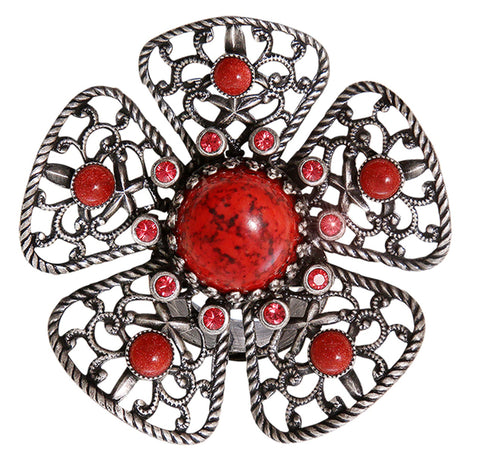 ring Flamenco red Dark Antique Silver large
