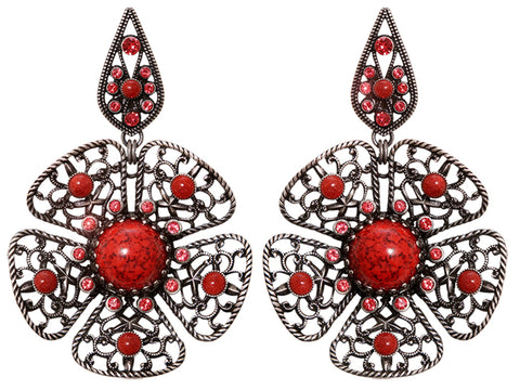 earring stud dangling Flamenco red Dark Antique Silver large