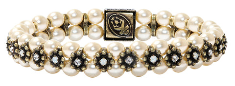 bracelet elastic Pearl 'n' Ribbons white antique brass