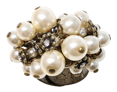 ring Pearl 'n' Ribbons white antique brass