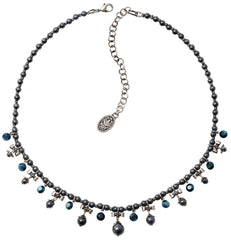 necklace Pearl 'n' Ribbons black antique silver