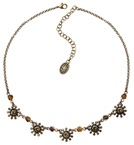 necklace Pool-Side Flower brown antique brass