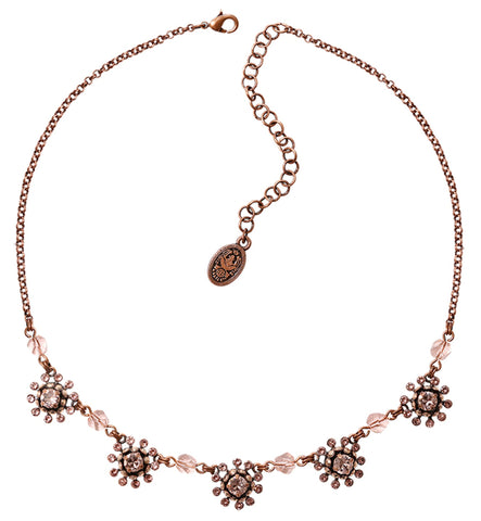 necklace Pool-Side Flower pink antique copper