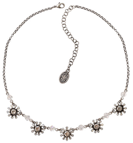 necklace Pool-Side Flower white antique silver