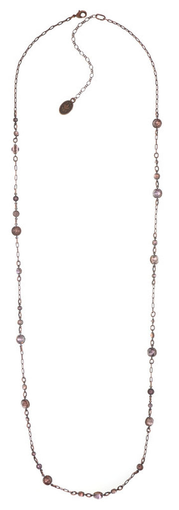 necklace (long) Waterfalls pink/lila antique copper