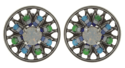 earring stud Dream Catcher green/white/blue antique silver extra small