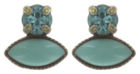 earring stud Mini Treasure II green antique brass
