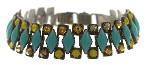 bracelet Arabic Nights green/yellow antique brass