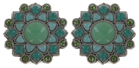 earring clip Mandala green antique silver small