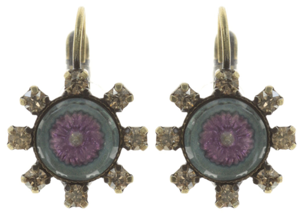 earring eurowire Forget Me Not brown/lila antique brass