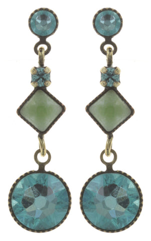earring stud dangling Mini Treasure II green antique brass