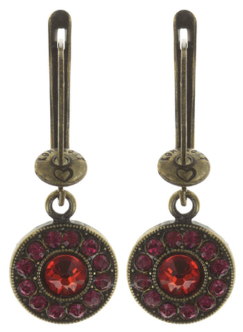 earring dangling Spell on You red/orange antique brass