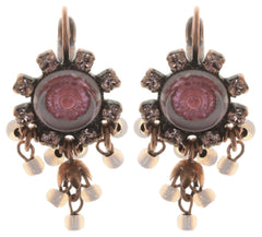 earring eurowire dangling Forget Me Not pink antique copper