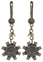 earring dangling Forget Me Not brown/lila antique brass
