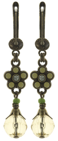 earring dangling Little Bloom yellow antique brass