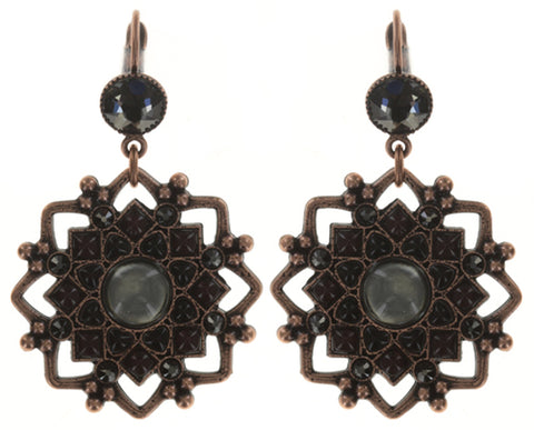 earring eurowire dangling Mandala black antique copper medium