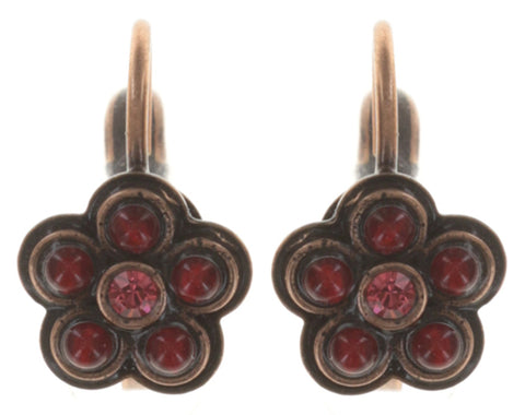 earring eurowire Little Bloom coralline/red antique copper