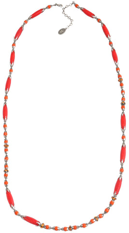 necklace (long) Pineapple red/orange antique silver