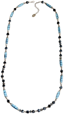 necklace (long) Pineapple blue antique silver