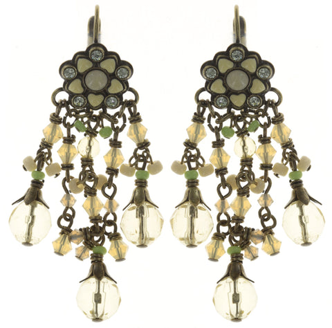 earring eurowire dangling Little Bloom yellow antique brass