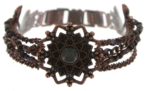 bracelet Mandala black antique copper medium