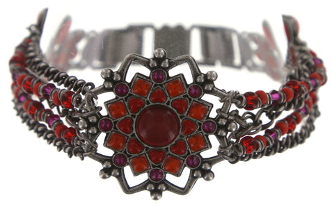bracelet Mandala red antique silver medium