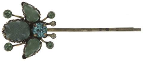 hairpin Flower Zumzum blue/green antique brass small