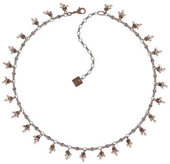 necklace Forget Me Not pink antique copper