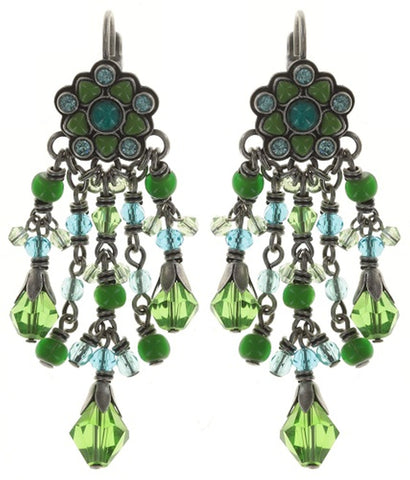 earring eurowire dangling Little Bloom blue/green antique silver