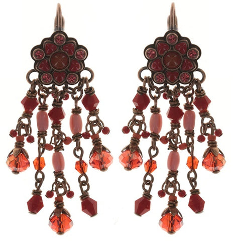 earring eurowire dangling Little Bloom coralline/red antique copper