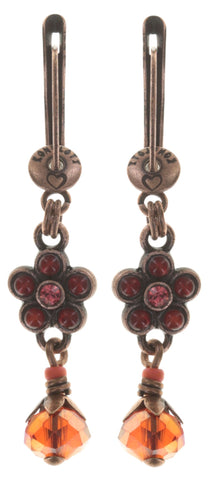 earring dangling Little Bloom coralline/red antique copper