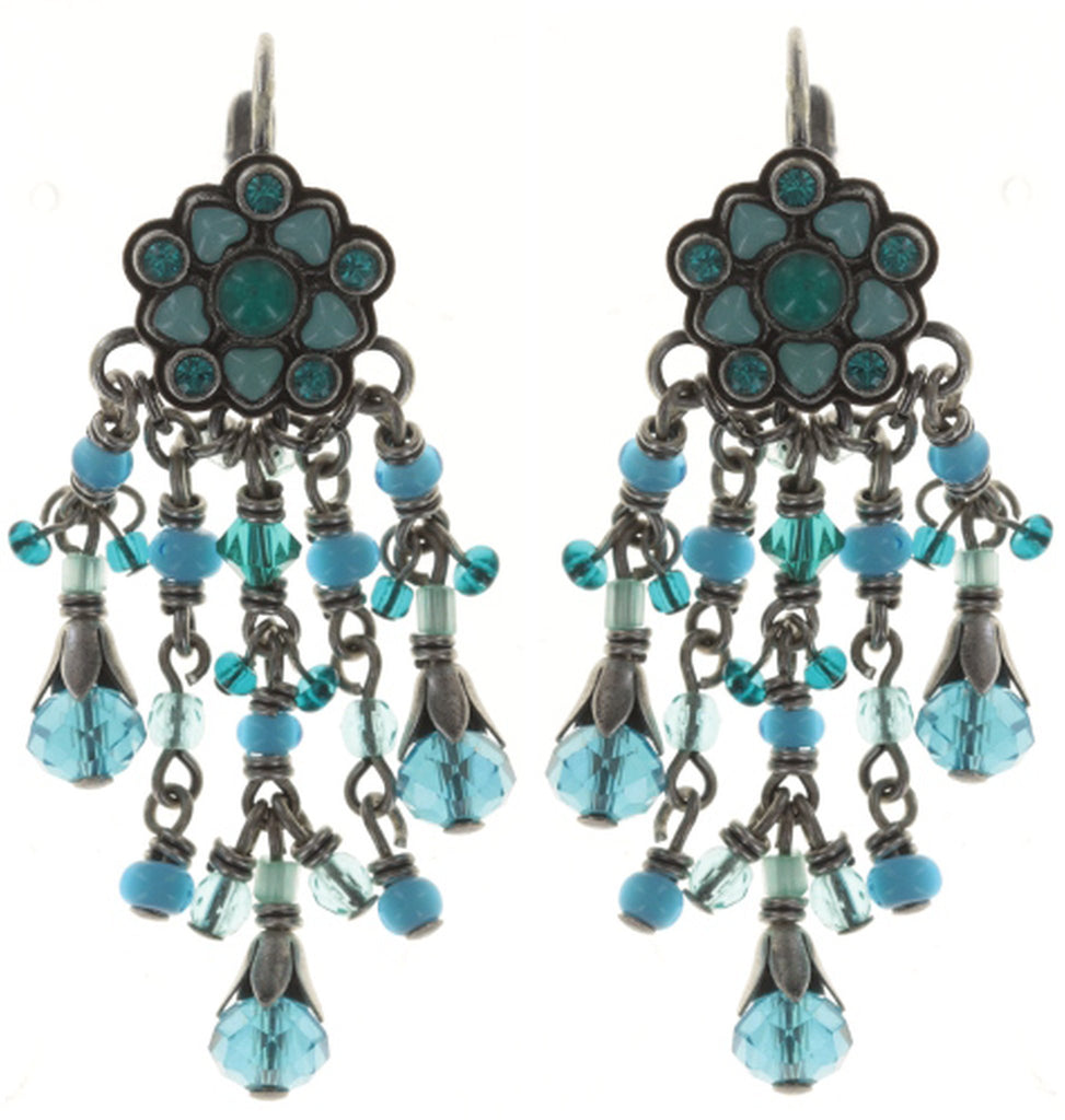earring eurowire dangling Little Bloom blue antique silver