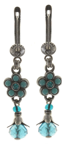 earring dangling Little Bloom blue antique silver