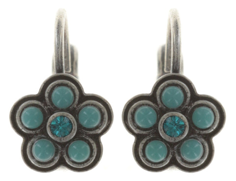 earring eurowire Little Bloom blue antique silver
