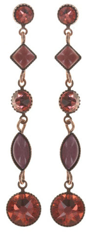 earring stud dangling Mini Treasure II coralline Light antique copper