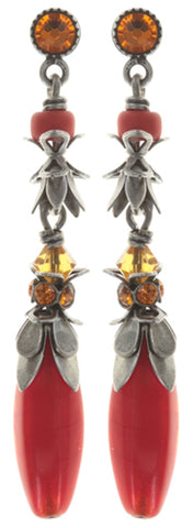 earring stud dangling Pineapple red/orange antique silver