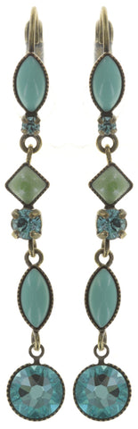earring eurowire dangling Mini Treasure II green antique brass