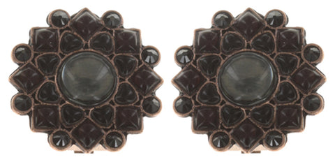 earring clip Mandala black antique copper small